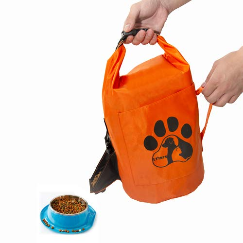 - Dog Food Storage Container,Cat&Dog Food Bags, Folding Pet Food Storage Container 10Lbs,Portable Travel Pet Travel Bag for Food Storage -capacity10L - Perfect for Medium & Large Dog (Orange)