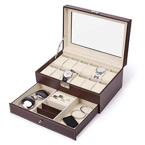 SAVICOS 12 Slots Watch Box, Mens&Womens Jewelry Display Organizer Lockable Watch Storage Case,Brown Faux Leather with Glass - Watch Leather Brown Box