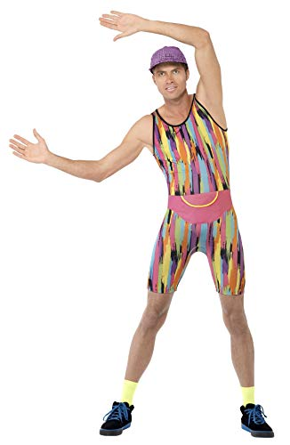 Smiffys Men's Aerobics Instructor Costume, Bodysuit, Hat and Bum Bag, Back to the 90's, Serious Fun, Size L, 23696