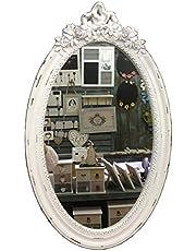 GMMH Charmante landhuis houten wandspiegel wit spiegel antieke garderobespiegel gangspiegel barok