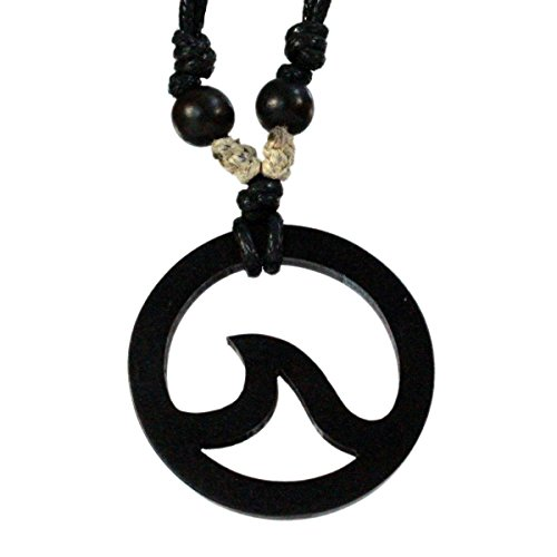 Flat Circle Pendant with Wave Carved from Kamagong Wood with Adjustable Black Cotton Waxed Cord Necklace