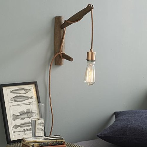 Eurus Home Cloth-wrapped cord In Copper Hanging Pendant Light Cord Kit-Plug-In Pendant Light Fixture - wrapped Cord with On/Off Switch, 3 conductors grounded Plug,UL listed,15FT (copper) by Eurus Home (Image #3)