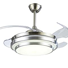 Product Name: LED Ceiling Light Style: Modern Material: metal ceiling plate, aluminum frame, acrylic shade Fan Material: ABS high-quality transparent plastic, automatic retractable invisible transparent Number of blades: 4 Size: 42 inches / D...