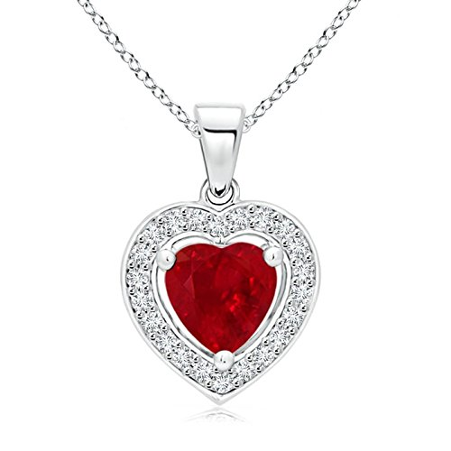 Floating Ruby Heart Pendant with Diamond Halo in 14K White Gold (6mm Ruby)