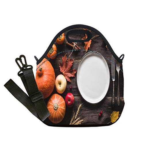 Custom Digital Printing Insulated Lunch Bag,Neoprene Lunch Tote Bags Autumnal table setting for Thanksgiving dinner or Halloween Lunch Bag- Insulated and Reusable Artful Design