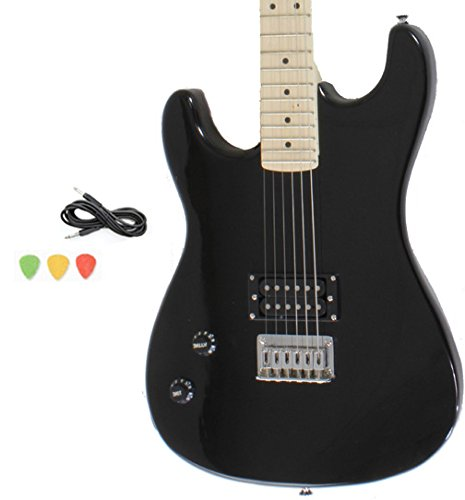 Davison Guitars 6 String Left Handed Black Full Size Electric Guitar With Cord And Picks By Davison (GTR235 LH BK GCP)