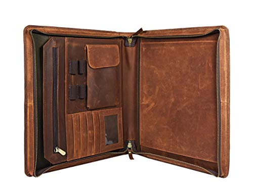 (Leather Castle Vintage Zippered Business Organizer Book Style File Folder, Brown)