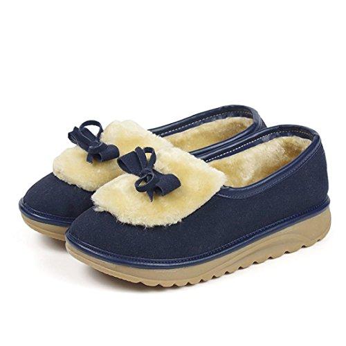 e de de Para con y Botas Piel Terciopelo cachemira Mujeres o Zapatos 35 Invierno Botas de Zapatos Azul Oto Sky Nieve Botas de Oscuro Bowknot de PzHzqZ