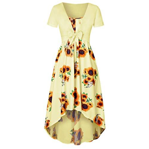 Women Dress Summer Women Vintage Daily Short Sleeve Dress Sunflower Print Mini Dress with Bow Crop T-Shirt (L, Yellow)