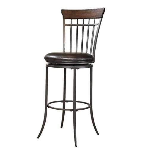 Hillsdale Furniture Cameron 42-Inch Vertical Spindle Back Swivel Counter Stool, Chestnut Brown Finish