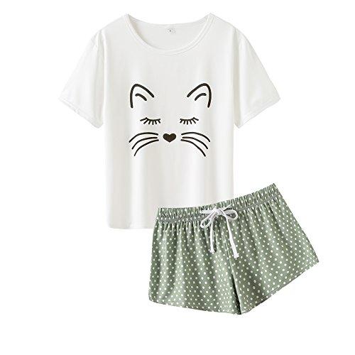 Mini Dot Boxer - VENTELAN Summer Pajamas for Women 2 Piece Cute Cat Sleepwear Pajama Sleep Set Green