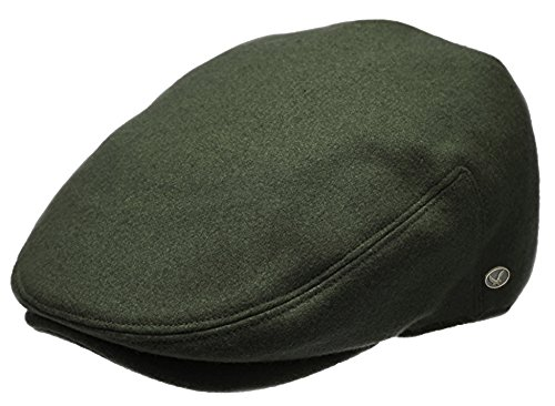 (Epoch Men's Classic Newsboy Cap, Flat Ivy Hat, Snap Brim Herringbone Tweed Cap (Large, Olive))