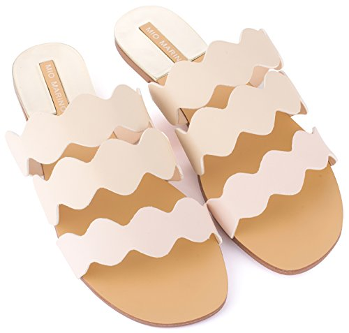 (Mio Marino womens slide sandals, Frill Scalloped slide for women Enclosed In A Gift Box)