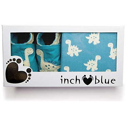 Inch Blue niñas niños zapatos de bebé de cuero & Algodón Gorro en caja Set de regalo–impreso–