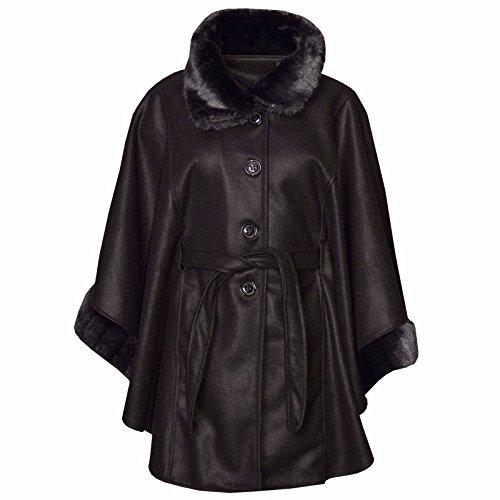 Comfiestyle Unique Manteau Taille Noir Femme Cape a0xnZq0Owz