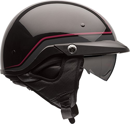 Bell Pit Boss Open-Face Motorcycle Helmet (Pinstripe Dark Red/Black, X-Small/Small)