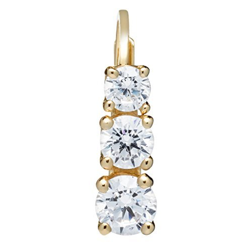 14K Solid Yellow Gold Round Cut Leverback 3-Stone Cubic Zirconia Earrings, Basket Setting (1.90 ctw), Gift Box
