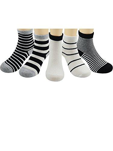 Zando Toddler Boys Socks Baby Infant Girls Cotton Soft Assorted Seamless Children 1-3t Socks Pack of 5 Stripe1 L