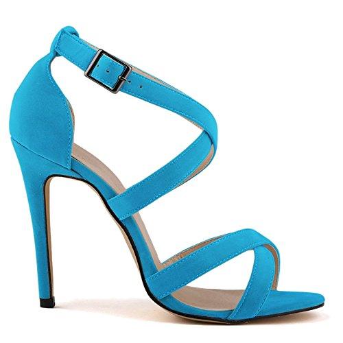 azzurro Scarpe Col Tacco Donna Kunsto Blu Sandals AfYw5nqpx