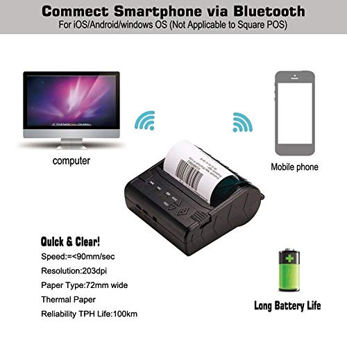 80MM Thermal Printer Support Windows Bluetooth and USB Black 7 Android and 1 IOS Wireless by Oshide (Image #6)
