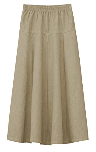 Fit And Flare Denim Skirt (Baby'O Girls Ultra Soft Lightweight Denim Fit and Flare A-Line Maxi Skirt (Small, Tan Khaki))