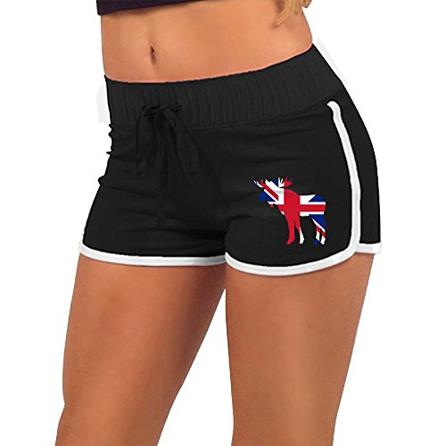 XDXG05 Moose In Flag Of Britain Women's Shorts,Summer-Time Hipster Slim Minipants For Women - Typical Clothes Hipster