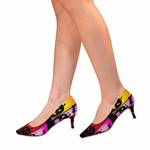 InterestPrint Womens Low Kitten Heel Pointed Toe Dress Pump Shoes Halloween Pumpkins Colors Multi 1 nqVzF3jM