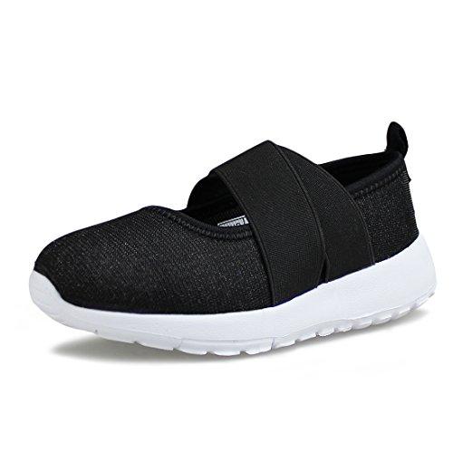 Cross Strap Mary Jane - Hawkwell Girl's Slip-on Elastic Cross Strap Fashion Sneaker(Little Kid/Big Kid), Black Fabric, 1 M US