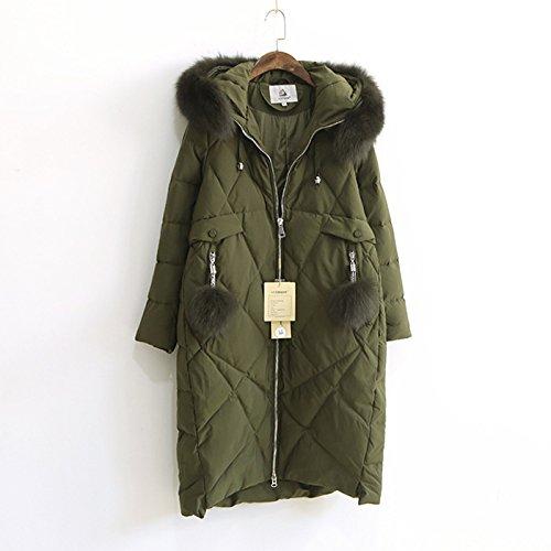 Green sleeve Coat Down Military Hat DYF Color Solid Zipper Women Pocket Long Jacket Warm fOvqgS