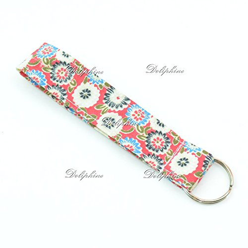 Floral Print Wristlet Fabric Lanyard Key Chain for Key fob, ID Badge Holder. Key, Purse, USB (Red)