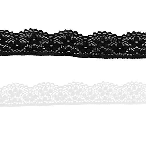 - 2pcs 5 Yards Lace Ribbon Embellishment for Making Lingerie Decoration 23mm
