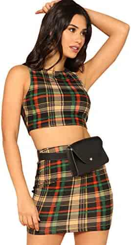 8f11ae42bd Romwe Women's 2 Piece Crop Tank Top with Skirt Set Plaid Bodycon Mini Dress