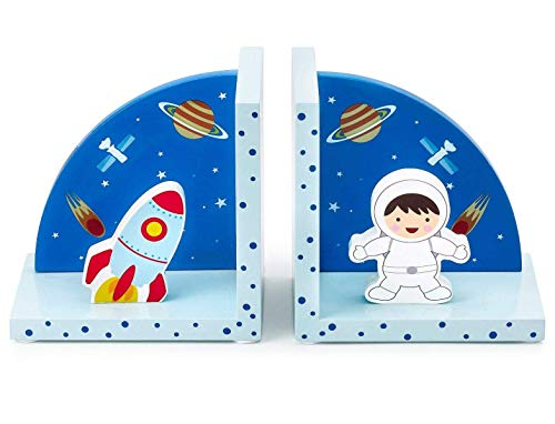 (Mousehouse Gifts 3D Rocket Space Themed Wooden Children's Bookends for Boys or Girls Nursery or Bedroom)
