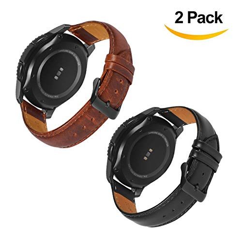Gear S3 Frontier / Galaxy Watch (46mm) Bands with Quick Release Pins, 22mm Genuine Leather Replacement Smart Watch Band for Samsung Gear S3 Classic Sports Smartwatch (Black & Brown With Black Clasp)