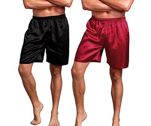 Mobarta Men's Satin Boxers Silk Sleepwear Underwear Shorts Lounge Beach Shorts