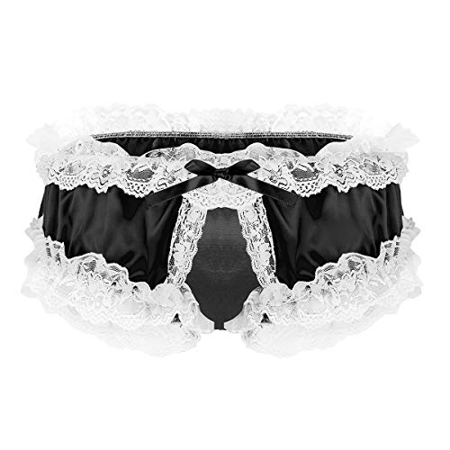 Agoky Men's Satin Silky Ruffled Frilly Panties Fancy Dress Girlie Crotchless Underwear Gifts Idea Black Large ()