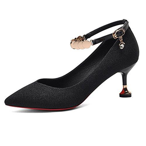 GYHDDP Zapatos de Mujer Spring Wild Shoes Stiletto Heels 2 Color Opcional Tamaño Opcional (Color : A, Tamaño : 40)
