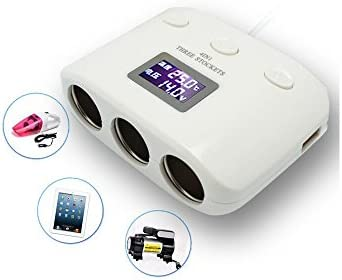 Boomboost 3ウェイデュアルUSB車ライター電源ソケット充電器スプリッタシガレットアダプタスイッチ電圧温度表示