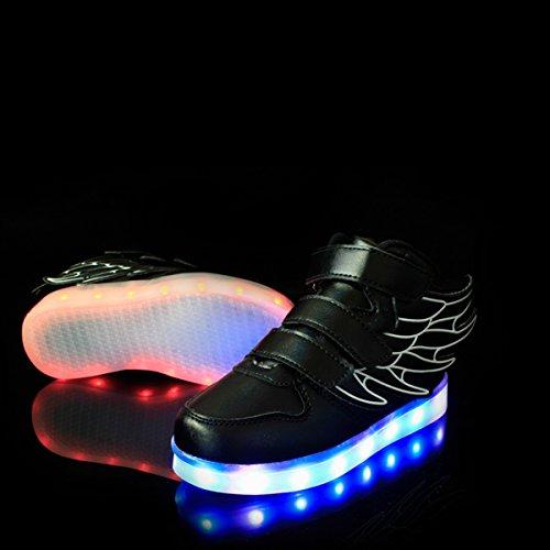 Sneakers Nero Shoes 7 Luci USB Luce Trainners DoGeek nella Luminosi Scarpe con Suola Unisex Colori con Lampeggiante Bright Bambino Scarpe Tennis LED FpZ8qn1
