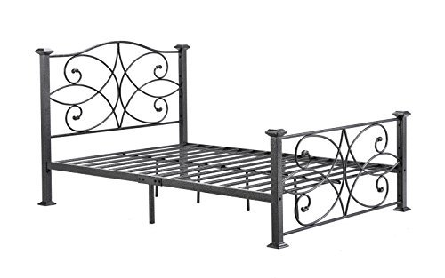 Hodedah Complete Metal Full-Size Bed with Headboard, Footboard, Slats and Rails in Black-Silver