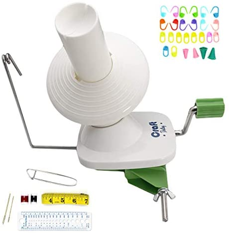 Yarn Winder via Craft Destiny - Easy to Set Up and Use - Hand Operated Yarn Ball Winder 4 Ounce Capacity - Sturdy with Metal Handle and Tabletop Clamp - Knitting package Included
