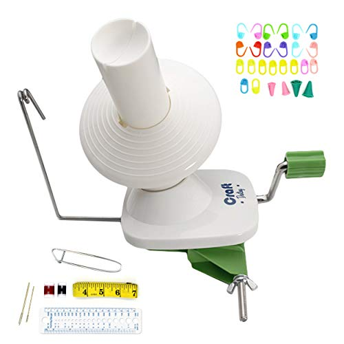 Yarn Winder by Craft Destiny - Easy to Set Up and Use - Hand Operated Yarn Ball Winder 4 Ounce Capacity - Sturdy with Metal Handle and Tabletop Clamp - Knitting kit included