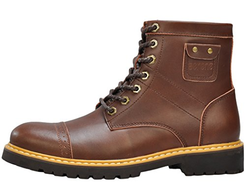 Serene Mens Dunk High Lace Up Leather Uppers Casual Shoes(10.5 D(M)US, Coffee)