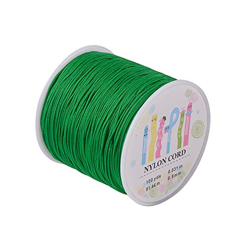 Pandahall 1 Roll(About 90m, 100 Yards) 0.8mm Nylon Beading String Knotting Cord, Chinese Knotting Cord Nylon Shamballa Macrame Thread Beading Cord (Green) ()