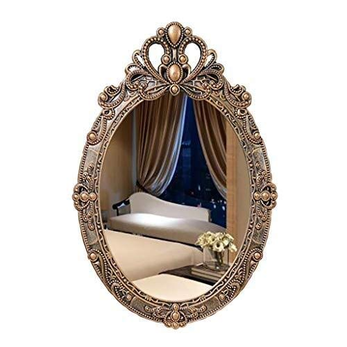 Bathroom Mirror Vintage Carving Ellipse Wall-Mounted Pine Wooden Large Frame Vanity Mirror with Wall Hanging Fixing Hardware Brown 38CMx57CM ()