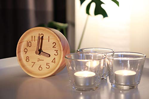 Driini Wooden Desk & Table Analog Clock Made of Genuine Pine (Light) - Battery Operated with Precise Silent Sweep Mechanism … - MINIMALIST PINE WOOD CLOCK - Perfect decor for your office desk, bedroom table, bathroom counter, or living room mantel PRECISE, QUIET & NON-TICKING - Precision quartz sweep inner movement mechanism quietly maintains the precise time SOLID WOOD FRAME - Sturdy 100% pine wood frame and face. Clocks hour and minute hands made from solid unvarnished wood. - clocks, bedroom-decor, bedroom - 41MfvB9b7hL -