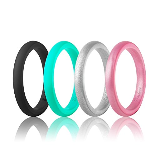 beilove Women's Thin and Stackable Silicone Wedding Rings,4 Ring Pack(Width: 2.5mm,Thickness: 2mm) (Black,Turquoise,Silver,Rose Gold, 6)