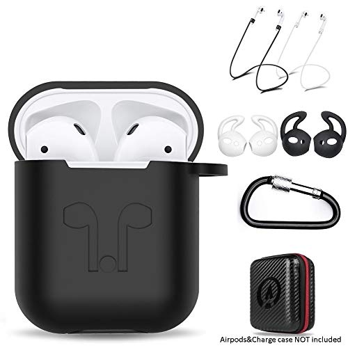 amasing AirPods Case 7 in 1 Airpods Accessories Kits Protective Silicone Cover for Airpod(Front led Not Visible) with Ear Hook Grips/Airpods Staps/Clips/Skin/Tips/Grips Blcak (F1 Front Lip)
