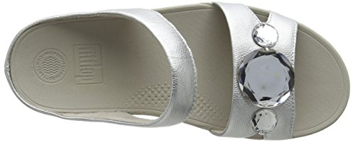 Silver Slide Silver Fitflop Open Pop Luna Sandals Women's Toe w6q0gO