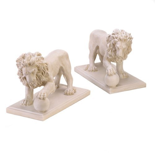 SET OF 2 STATELY LION STATUE DUO DRIVEWAY ENTRANCE GARDEN YARD ART (Concrete Lion Statues)